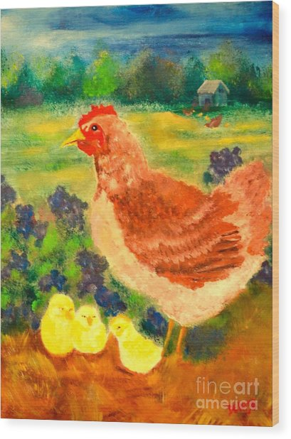 Hen And Chick Wood Print
