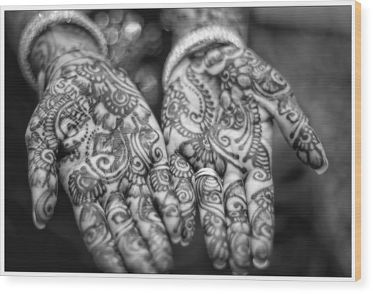 Henna Hands Black And White Wood Print