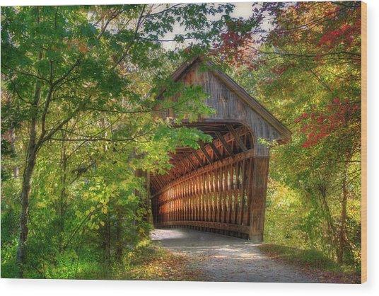 Henniker Covered Bridge - Autumn In New Hampshire Wood Print