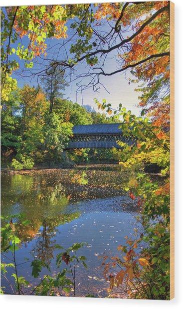 Henniker Covered Bridge In Autumn Wood Print