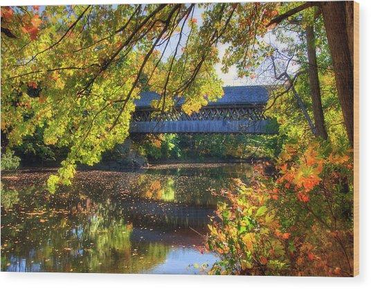 Henniker Covered Bridge In Autumn - New Hampshire Wood Print