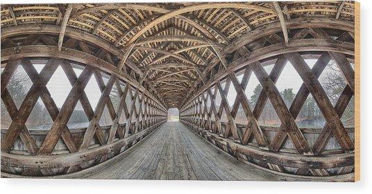 Henniker Covered Bridge Interior Pano Wood Print