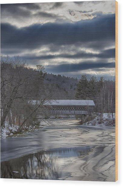 Henniker, Nh Covered Bridge In Winter Wood Print