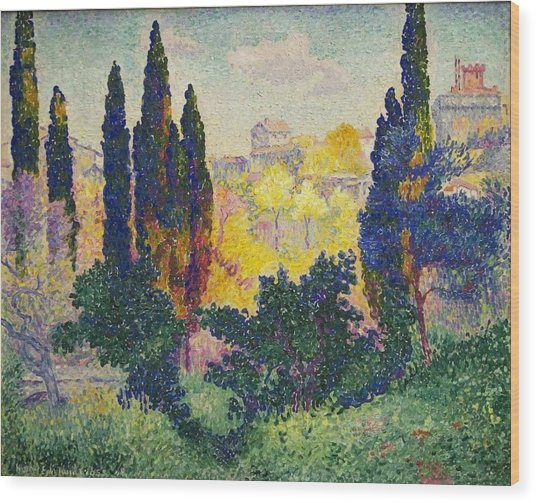 Henri Edmond Cross French Les Cypres A Cagnes Wood Print