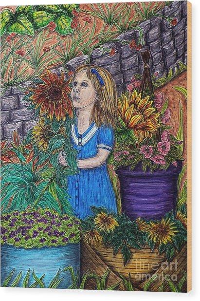 Her First Garden Wood Print
