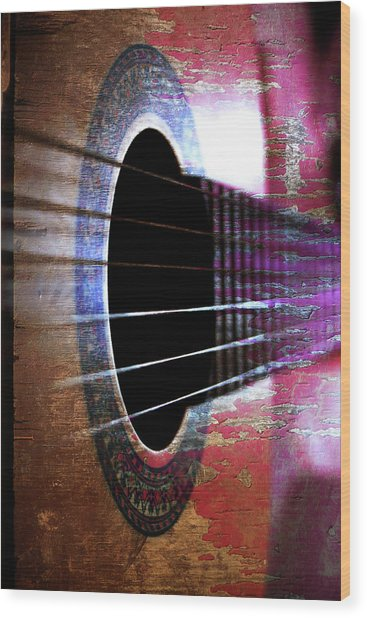 Her Old Guitar Wood Print by Rozalia Toth