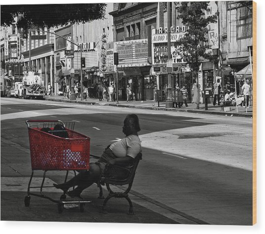 Wood Print featuring the photograph Her Red Cart by Lorraine Devon Wilke