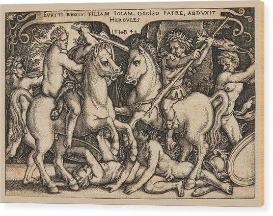Hercules Abducting Iole Having Slain Her Father King Eurytus Wood Print