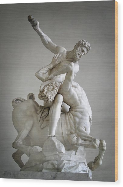 Hercules And Centaur Sculpture Wood Print by Artecco Fine Art Photography