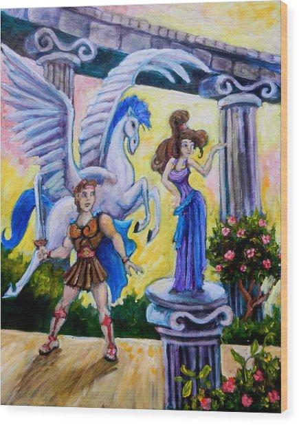 Hercules Pegasus And Meg Wood Print by Sebastian Pierre