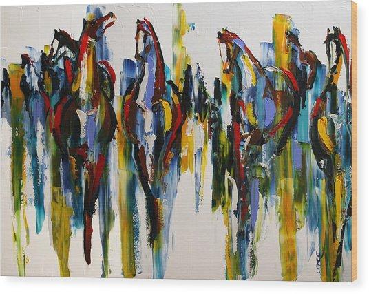 Herd Of Carousel Ponies Wood Print