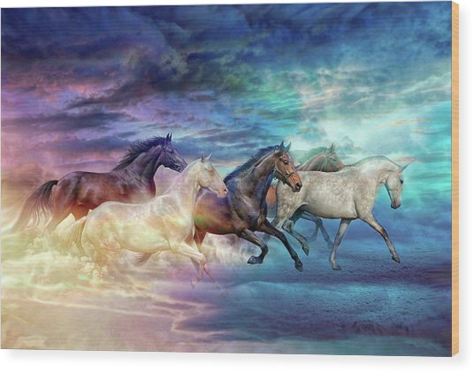 Herd Of Horses In Pastel Wood Print