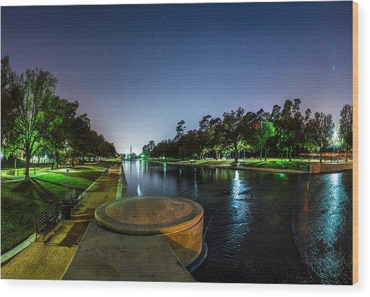 Hermann Park Reflecting Pool In Houston Texas Wood Print