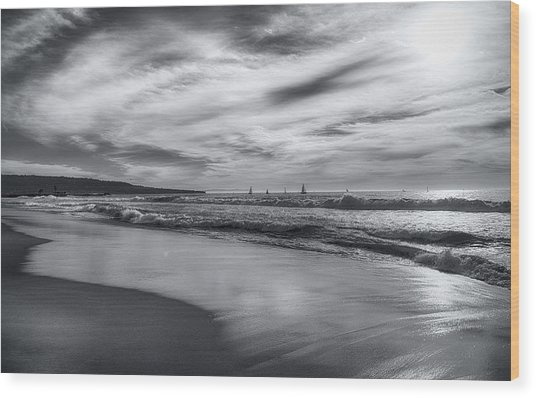 Hermosa Evening Black And White Wood Print