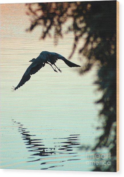 Heron At Dusk Wood Print