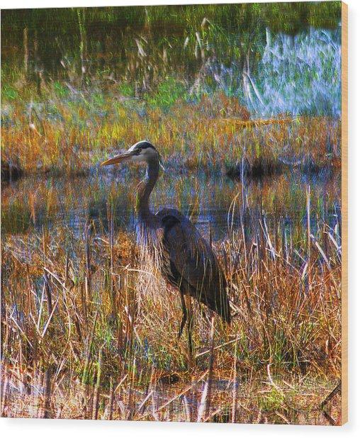 Heron Blue Wood Print