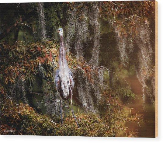 Heron Camouflage Wood Print