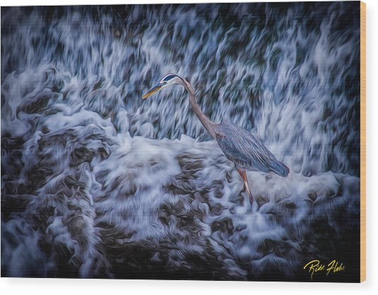 Wood Print featuring the photograph Heron Falls by Rikk Flohr