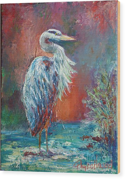 Heron In Color Wood Print