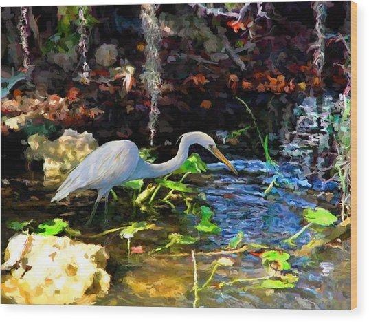 Heron In Quiet Pool Wood Print
