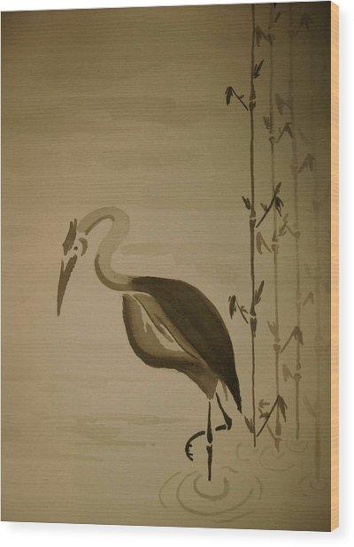 Heron In Sumi-e Wood Print by Jeff DOttavio
