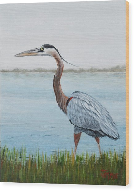 Heron In The Marsh Wood Print