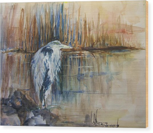 Heron In The Reeds 1 Wood Print by Sukey Watson