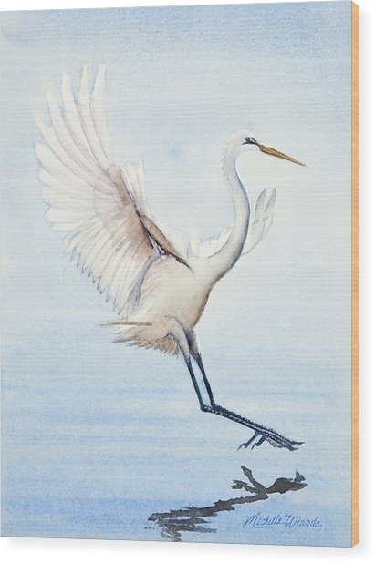 Heron Landing Watercolor Wood Print