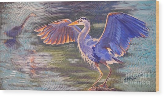 Heron Majesty Wood Print