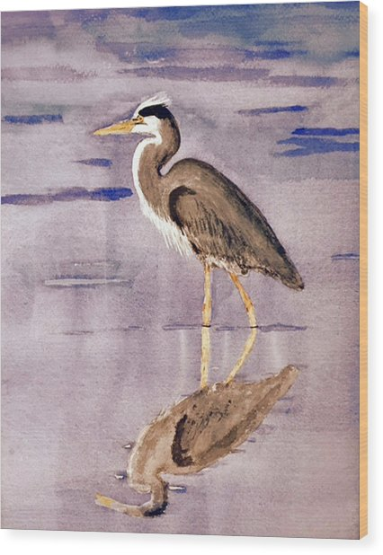 Heron No. 2 Wood Print