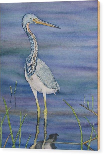 Heron Wood Print by Sharon Farber