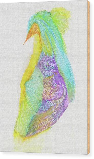 Heron - #ss16dw038 Wood Print by Satomi Sugimoto