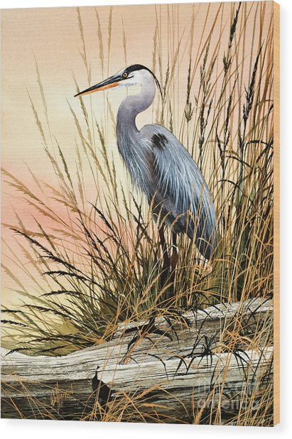 Heron Sunset Wood Print