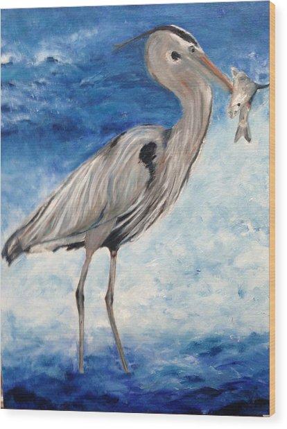 Heron With Fish Wood Print