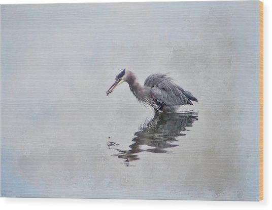 Heron Fishing  - Textured Wood Print