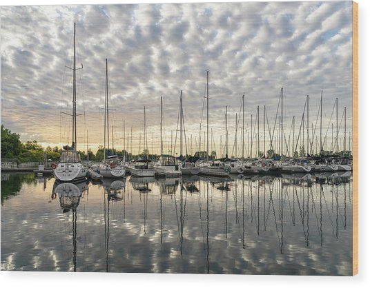 Herringbone Sky Patterns With Yachts And Boats  Wood Print