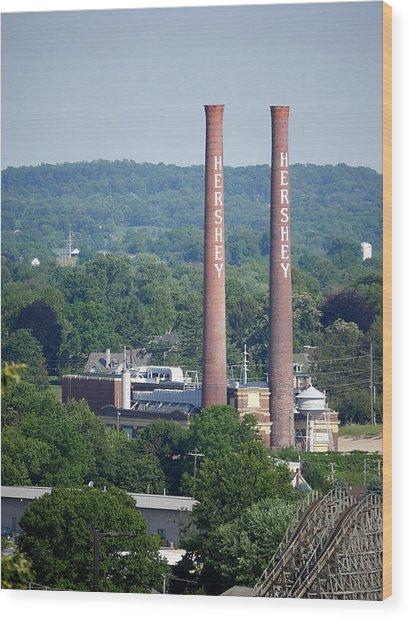 Hershey Smokestacks Wood Print
