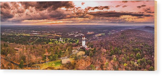 Heublein Tower, Simsbury Connecticut, Cloudy Sunset Wood Print