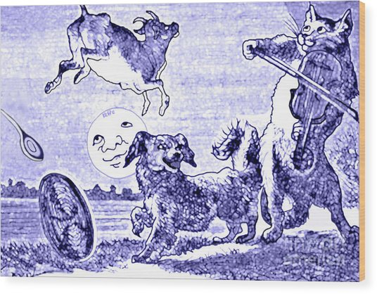 Hey Diddle Diddle The Cat And The Fiddle Nursery Rhyme Wood Print