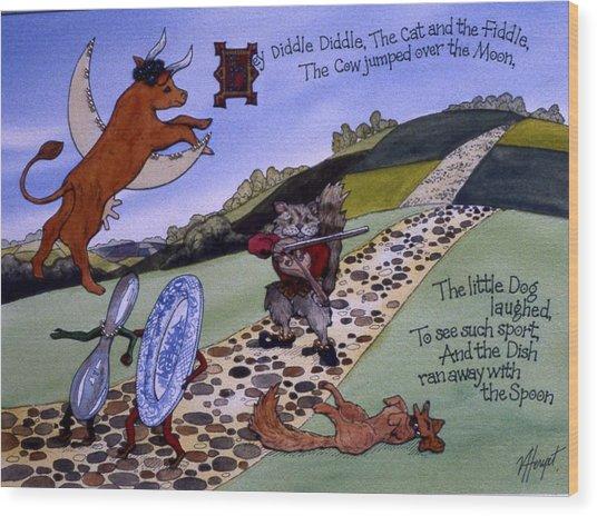 Hey Diddle Diddle Wood Print by Victoria Heryet