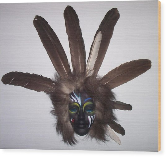 Heyoka Face Wood Print by Angelina Benson