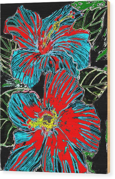 Hibisc Wood Print