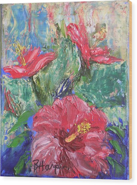 Hibiscus Abstract Wood Print by Barbara Harper
