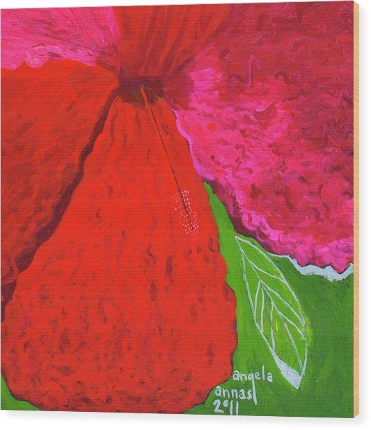 Hibiscus Closeup Wood Print