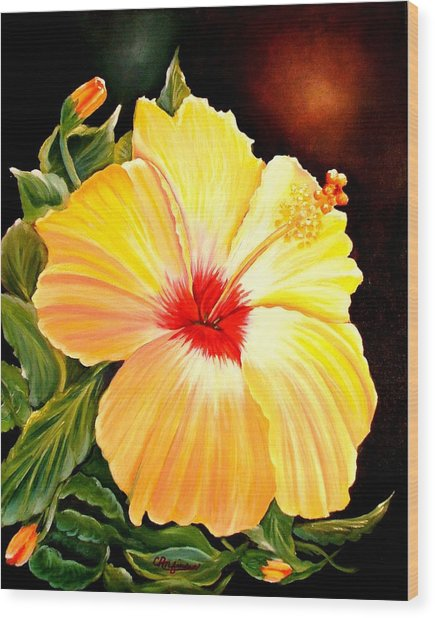 Hibiscus Glory Wood Print
