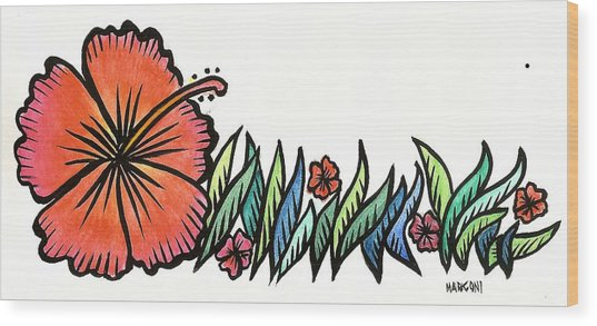 Hibiscus Guam 2009 Wood Print by Marconi Calindas
