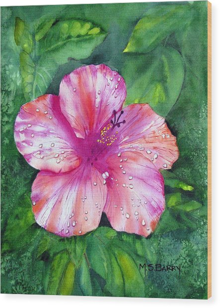 Hibiscus Wood Print by Maria Barry