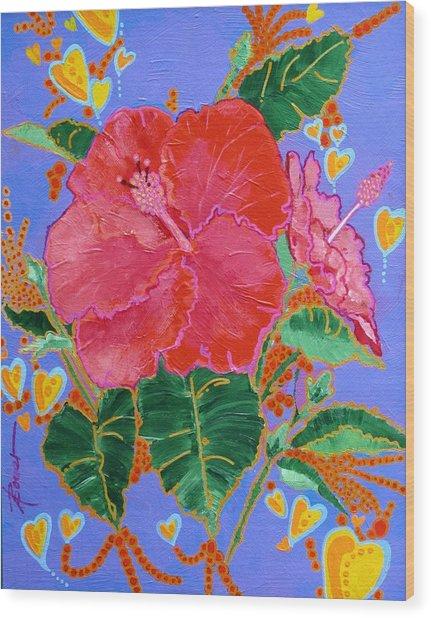 Hibiscus Motif Wood Print