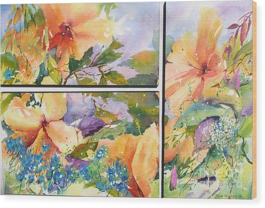 Hibiscus Triptych Wood Print