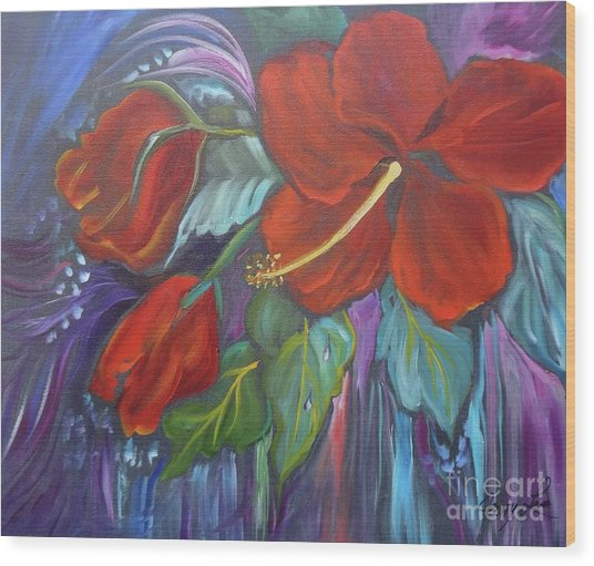 Hibiscus Whimsy Wood Print
